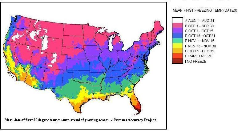First And Last Date Of Freezing Temperatures And Annual US - Us planting map