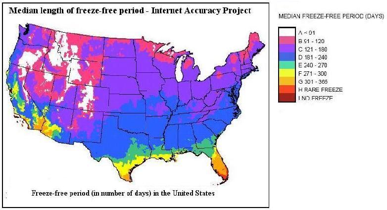 U.S. map showing median length of freeze-free period