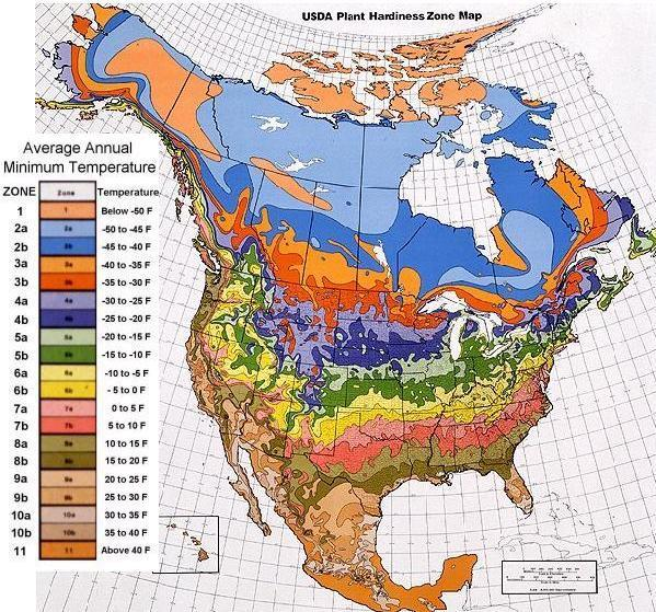 Plant Hardiness Zones For The United States And Canada Internet - Acid deposition map of us