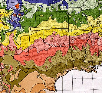 Southern United States Plant Hardiness Zone Map