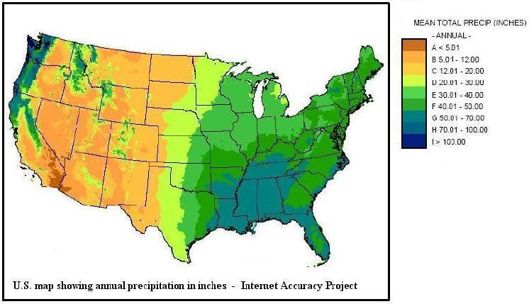U.S. map showing annual precipitation in inches