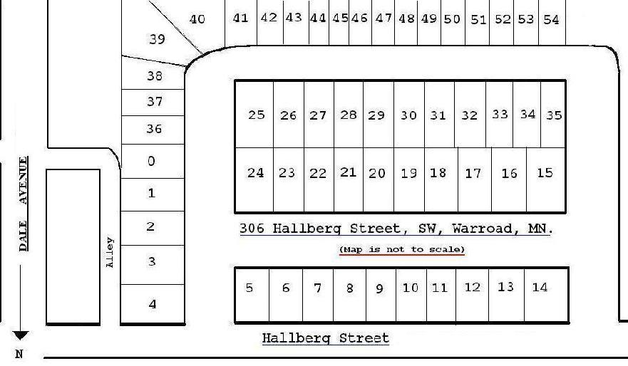 Map showing lot placement at 306 Hallberg Street, Warroad, Minnesota