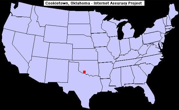 U.S. map showing the location of Cookietown, Oklahoma