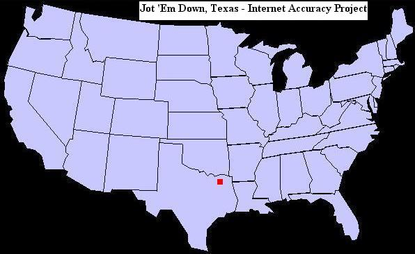 U.S. map showing the location of Jot 'Em Down, Texas
