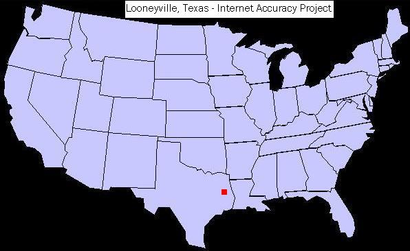 U.S. map showing the location of Looneyville, Texas