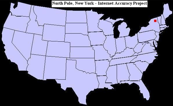 U.S. map showing the location of North Pole, New York