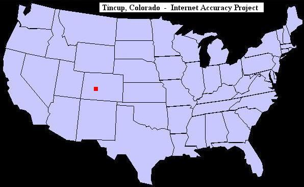 U.S. map showing the location of Tincup, Colorado