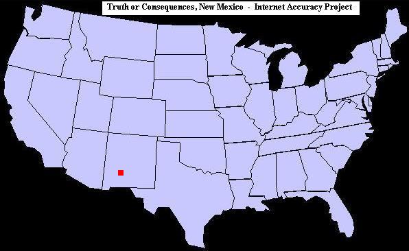 U.S. map showing the location of Truth or Consequences, New Mexico