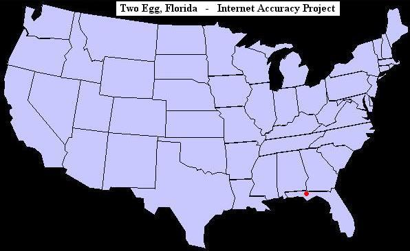 U.S. map showing the location of Two Egg, Florida
