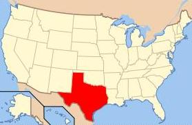 U.S. map showing the location of Texas